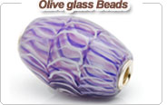 European style olive glass beads