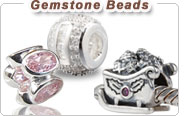 Silver gemstone charms European beads