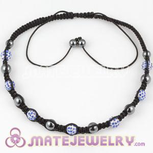 Fashion Sambarla Style Necklace with blue Crystal alloy beads and Hematite
