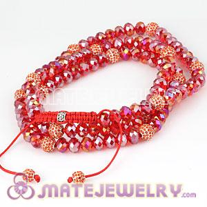 Fashion Long Alloy Crystal Red Faceted Crystal Glass Beads Unisex Necklace