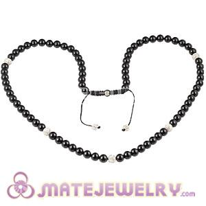 Fashion Long Onyx Black Agate Alloy Crystal Unisex Necklace