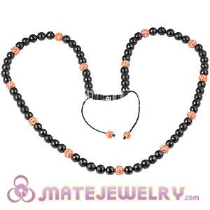 Fashion Long Onyx Faceted Black Agate Alloy Crystal Unisex Necklace