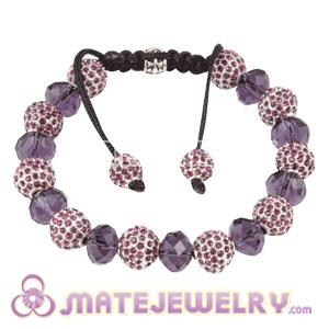 Sambarla Style Alloy Crystal Bracelets With Purple Faceted Crystal Glass Bead