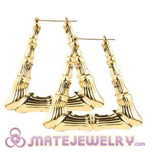 Whole 50 60mm Gold Basketball Wives Bamboo Door Knocker Earrings