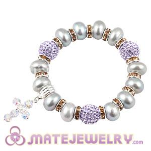 Freshwater Pearl Beaded Basketball Wives Bracelets With Czech Crystal Beads
