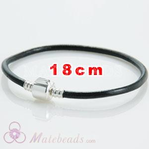 Black slippy leather European style bracelet without stamped