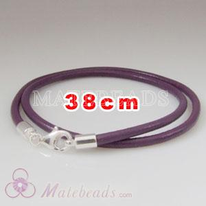 38cm purple slippy European double leather bracelet sterling lobster clasp
