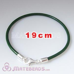 19cm green slippy European leather bracelet sterling lobster clasp