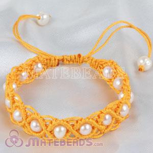 Fashion Hand Knitted Adjustable Bracelet with Freshwater Pearl