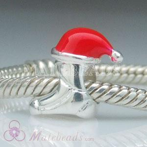 European Christmas Shoe charm Beads with red enamel santa hat