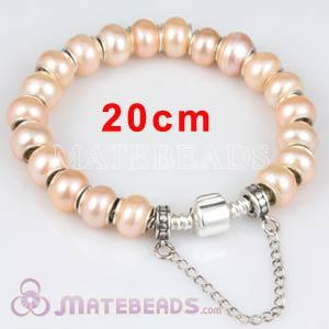 20cm European Style Freshwater Pearl Sterling Silver Bracelet with Safety Chain