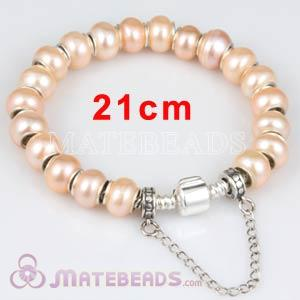 21cm European Style Freshwater Pearl Sterling Silver Bracelet with Safety Chain