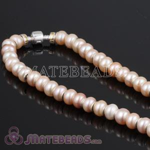 44cm European Style Freshwater Pearl Sterling Silver Necklace with Stopper Beads