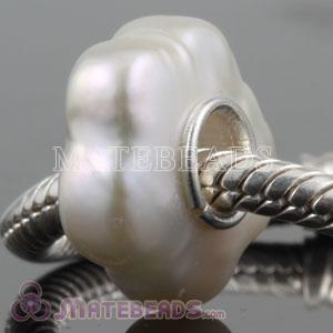 Nature White Freshwater Pearl Flower Beads fit European Chamilia