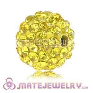 Wholesale Cheap Price 10mm Yellow Handmade Pave Crystal Beads