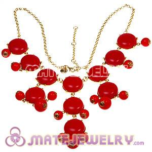 2012 New Fashion Coral Red Bubble Bib Statement Necklace