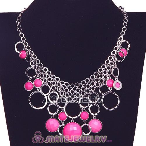 Silver Chains Multilayer Roseo Resin Choker Bib Necklaces Wholesale