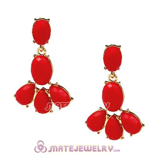 Fashion Red Coral Resin Plaza Athenee Chandelier Drop Earrings Wholesale