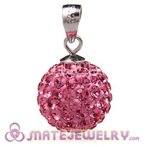 Fashion Sterling Silver 12mm Pave Pink Czech Crystal Pendants