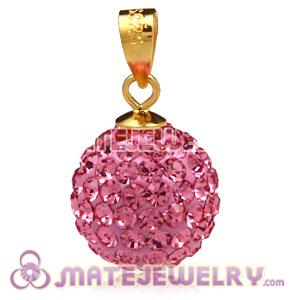 Fashion Gold Plated Silver 12mm Pave Pink Czech Crystal Pendants