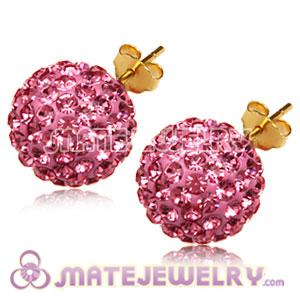 12mm Gold Plated Silver Pave Pink Czech Crystal Ball Stud Earrings
