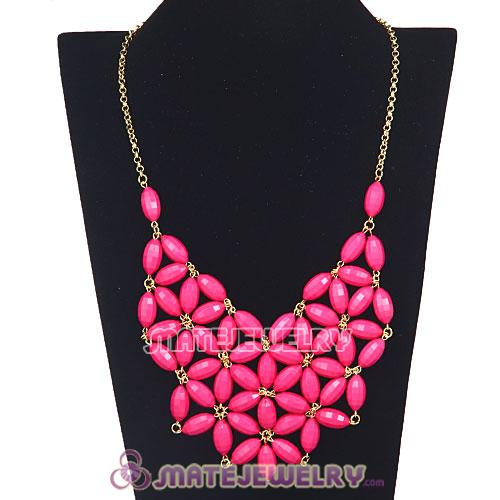 2012 New Fashion Pink Bubble Bib Statement Necklace