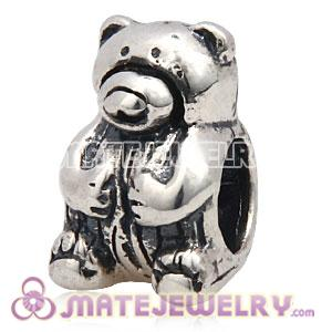 antique silver Teddy Bear beads