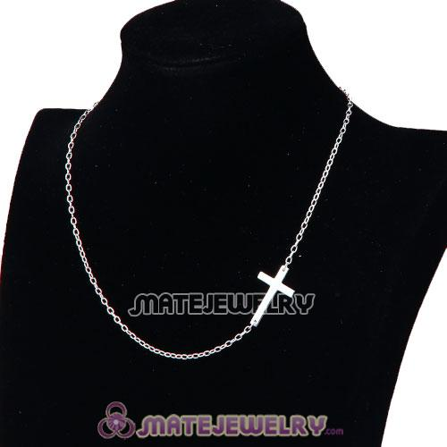 Wholesale 925 Sterling Silver Fashion Sideways Cross Necklace