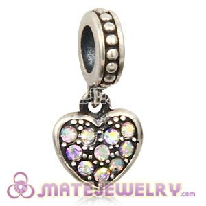 Sterling Silver European Crystal AB Pave Heart Dangle With Crystal AB Austrian Crystal
