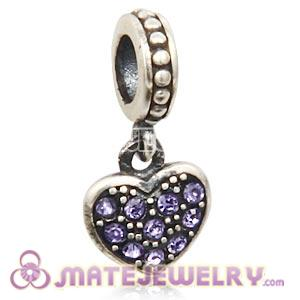Sterling Silver European Tanzanite Pave Heart Dangle With Tanzanite Austrian Crystal