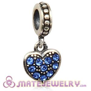 Sterling Silver European Sapphire Pave Heart Dangle With Sapphire Austrian Crystal