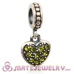 Sterling Silver European Olivine Pave Heart Dangle With Olivine Austrian Crystal