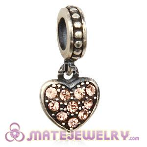 Sterling Silver European Light Peach Pave Heart Dangle With Light Peach Austrian Crystal