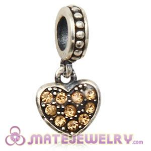 Sterling European Light Colorado Topaz Pave Heart Dangle With Light Colorado Austrian Crystal