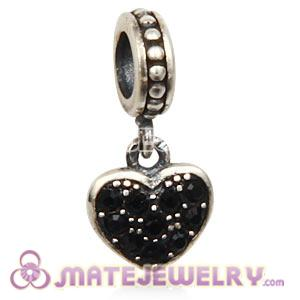 Sterling European Jet Pave Heart Dangle With Jet Austrian Crystal