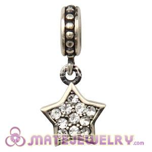 European Sterling Clear Pave Star Dangle With Clear Austrian Crystal