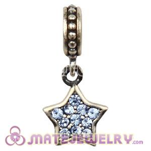 European Sterling Light Sapphire Pave Star Dangle With Light Sapphire Austrian Crystal