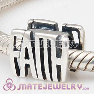Wholesale 925 Sterling Silver European FAITH Charm Message Bead