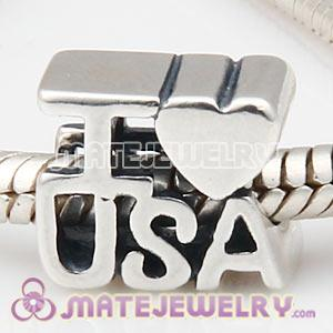 Wholesale 925 Sterling Silver European I LOVE USA Charm Message Bead