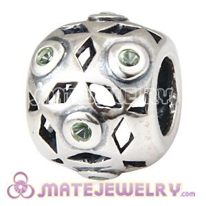 European Sterling Silver Charm Bead With Olivine Zircon Stones