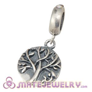 Sterling Silver Tree of Life Dangle Beads with Crystal AB Austrian Crystal