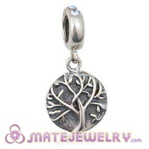 Sterling Silver Tree of Life Dangle Beads with Light Sapphire Austrian Crystal