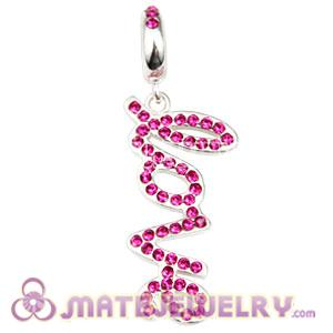 Sterling Silver Love Letters Dangle Beads with Fuchsia Austrian Crystal