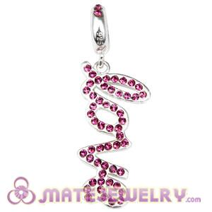 Sterling Silver Love Letters Dangle Beads with Amethyst Austrian Crystal