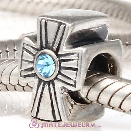 925 Sterling Silver European Cross Charm Bead With Aquamarine Austrian Crystal
