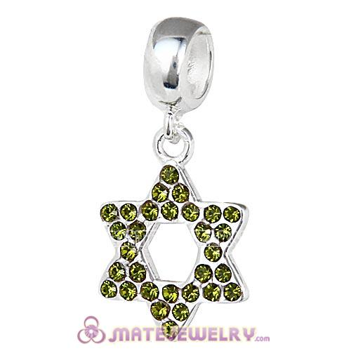 Sterling Silver Star Of David with Olivine Austrian Crystal Dangle Beads