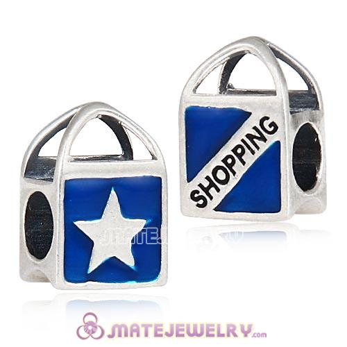 European Sterling Silver Born to Shop Enamel Charm Bead