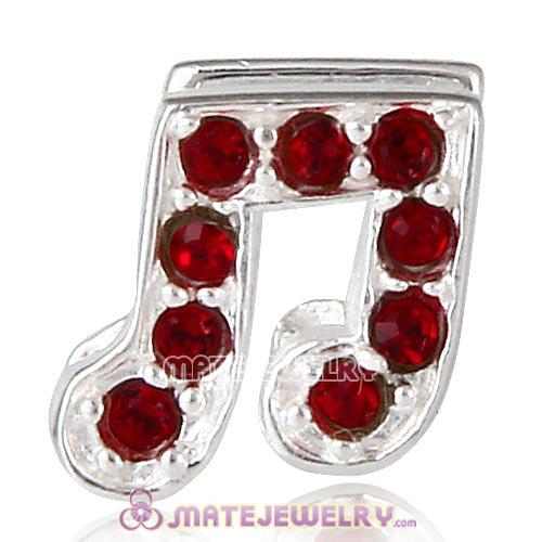 Sterling Silver Music Note Beads with Siam Austrian Crystal