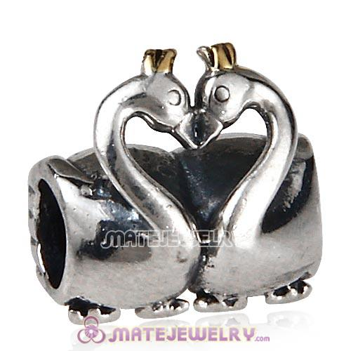 Antique Sterling Silver Swan Embrace Charm Beads European Style