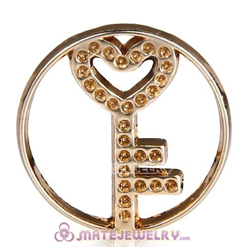 22mm Large Rose Gold Heart Key Alloy Window Plate